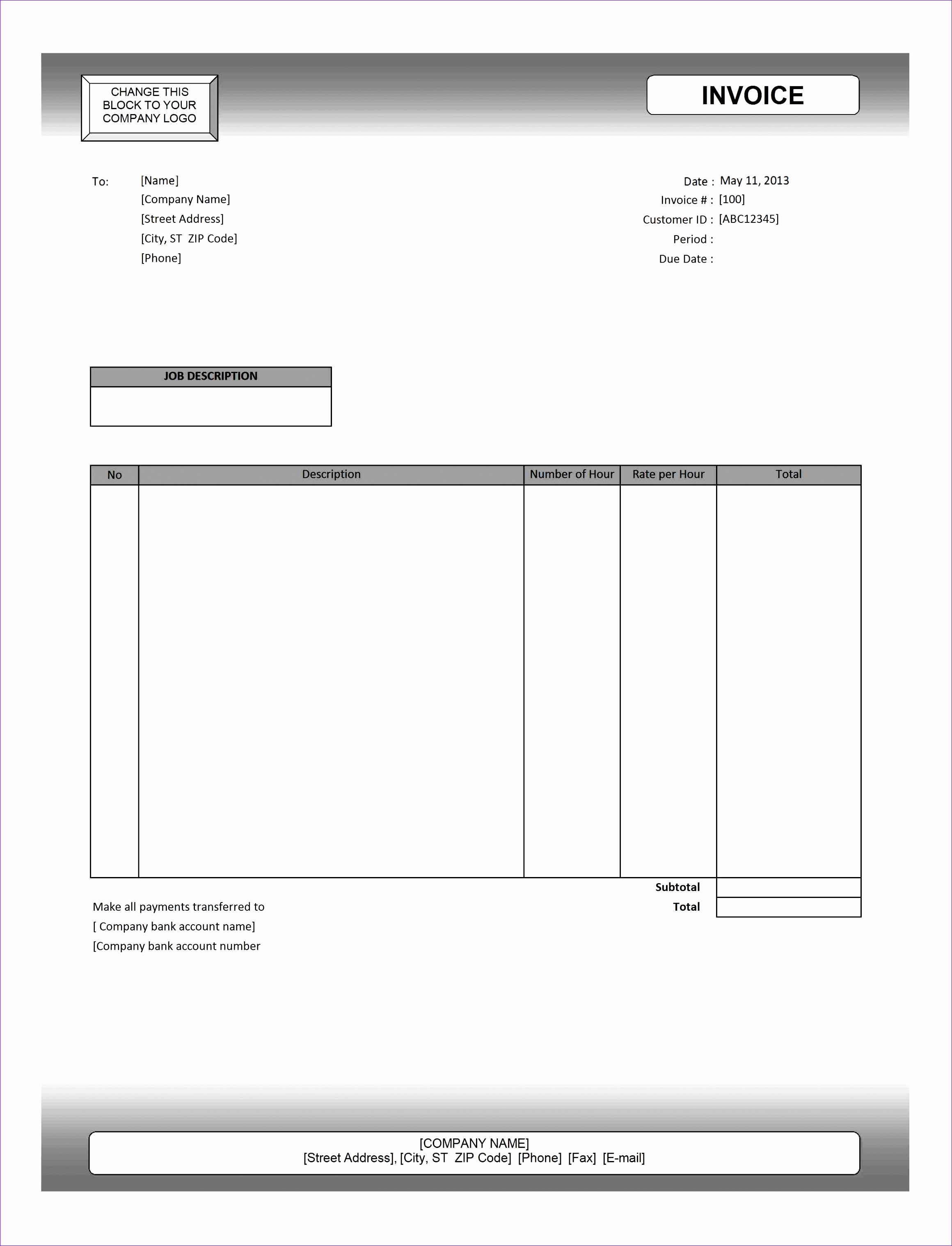editable invoice template excel 2173 23203036