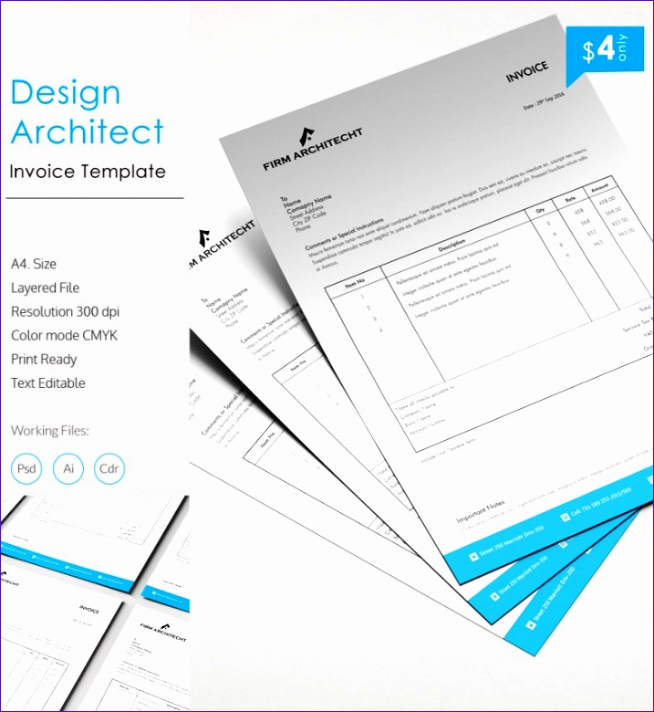 Free Invoice Templates for Excel Fhnge Beautiful Design Architect Invoice Template 788848