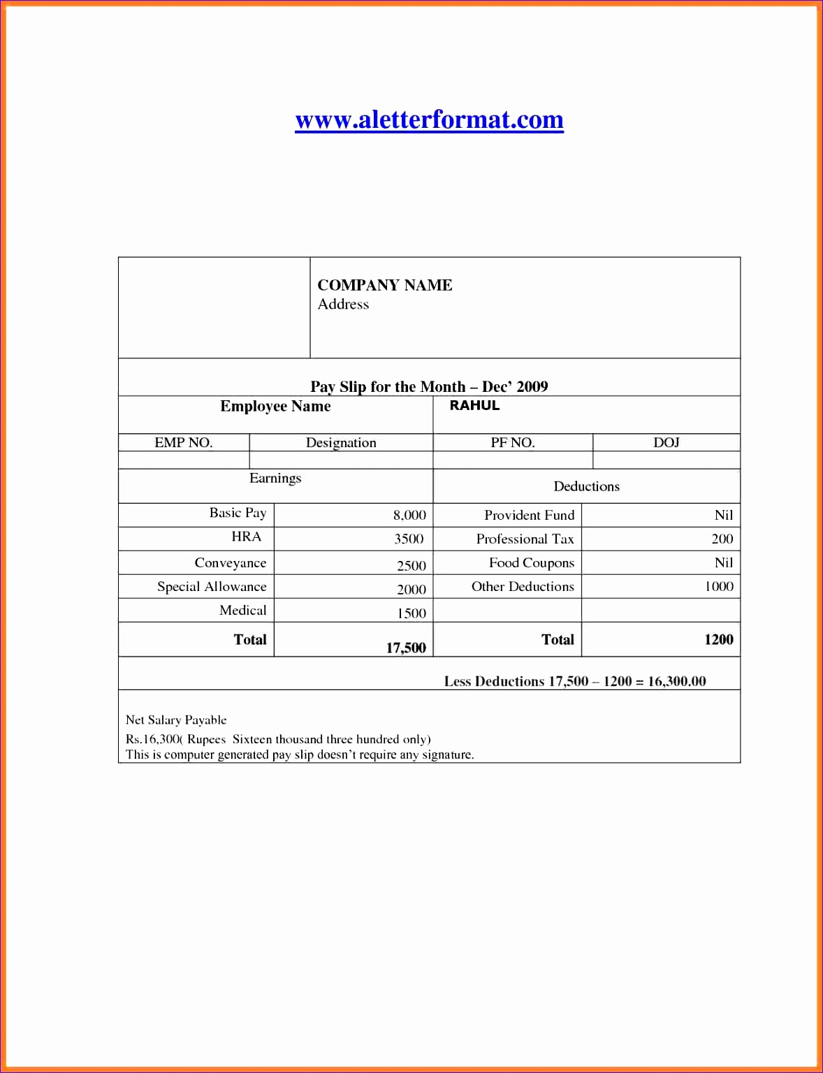 7 free sample payslip template 11781536