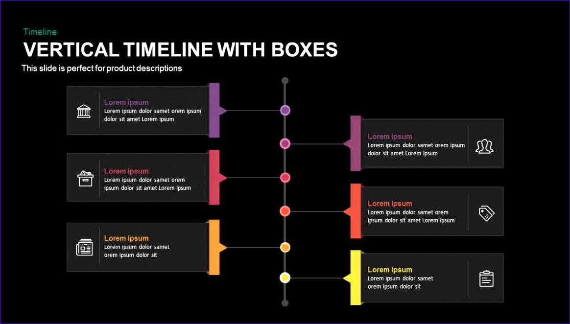 vertical timeline with boxes powerpoint and keynote template 1164662