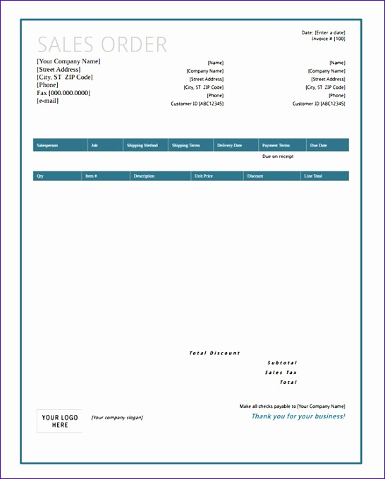 sales order form template with blue layout and blank logo area 546680