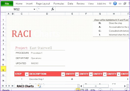free raci chart template for excel 527368