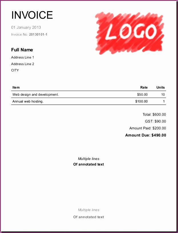 4 simple invoice