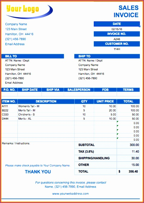 4 tax invoice bill format excel 479674