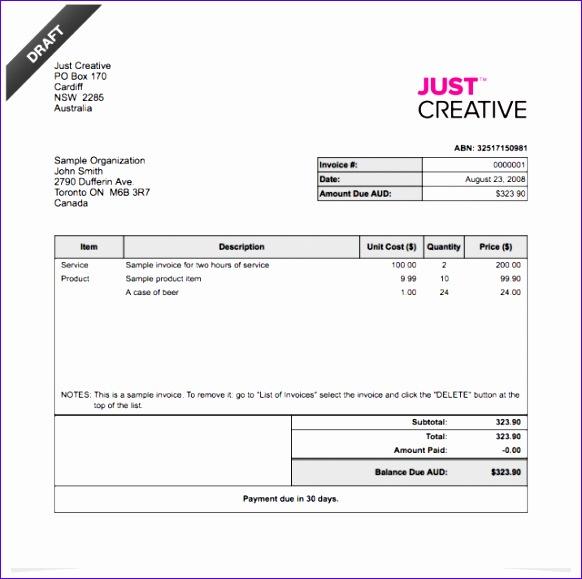 50 deposit invoice sample 1564 582579