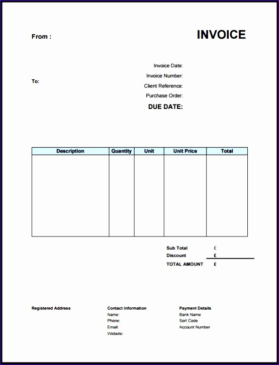 standard invoice template uk 2074 555727