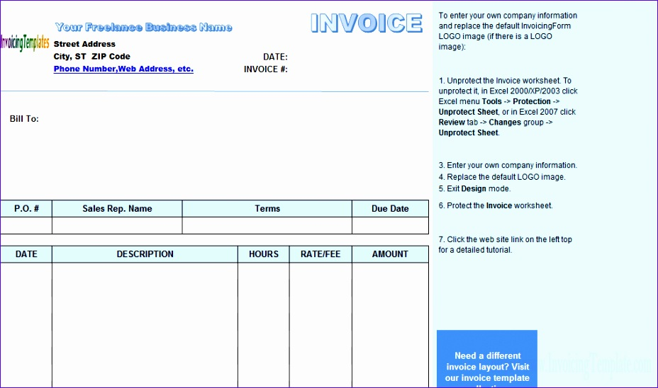 6 Freelance Invoice Template Excel