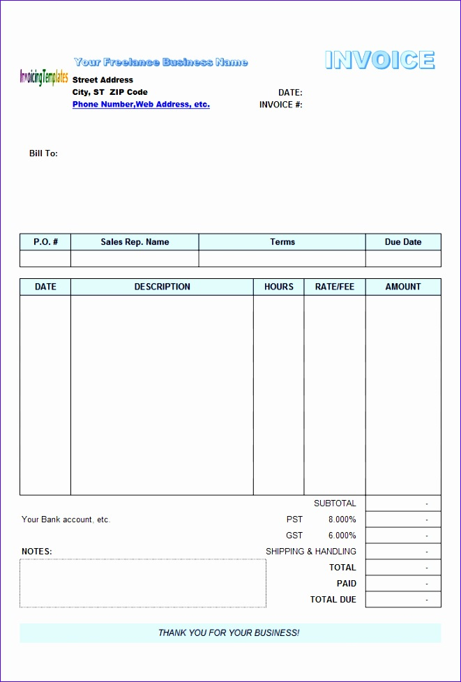 Freelance invoice template excel