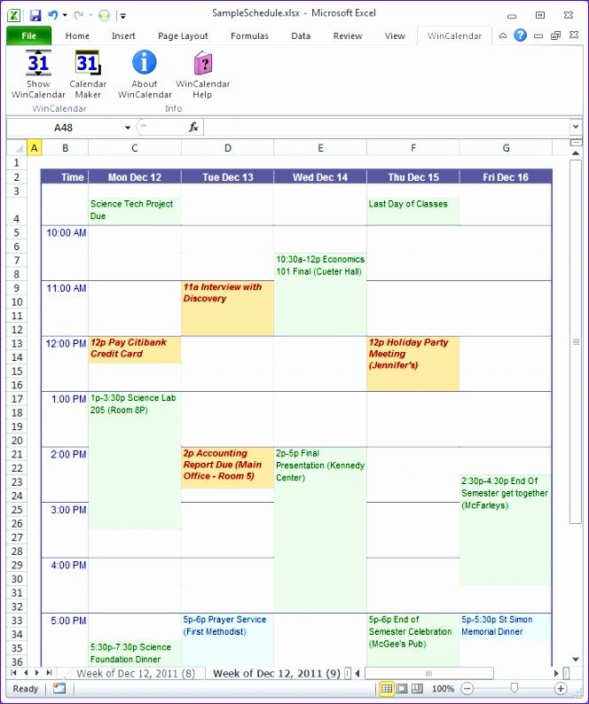 calendar schedule template excel 664794