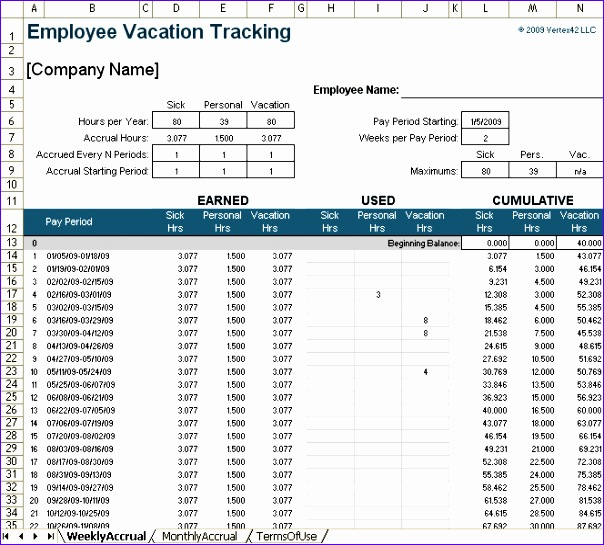 vacation accrual spreadsheet template 604545