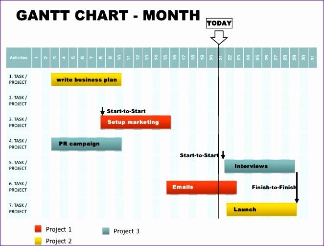 free month gantt powerpoint chart 662502