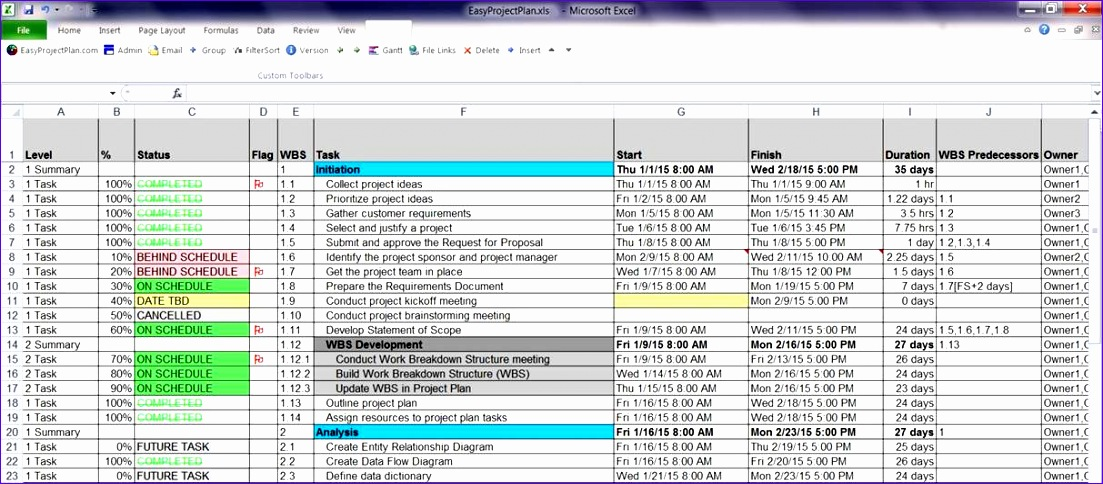 Project Schedule Excel Template Free