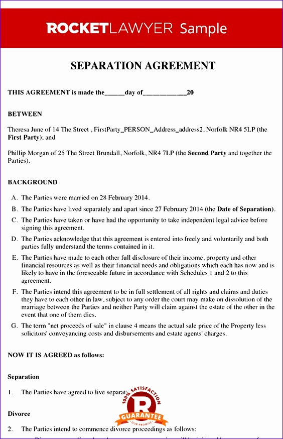 separation agreement template 564874