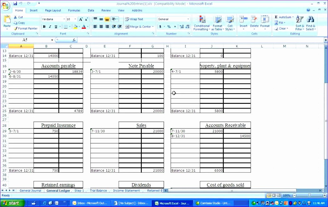 General Ledger Template Excel  Exceltemplates  Exceltemplates