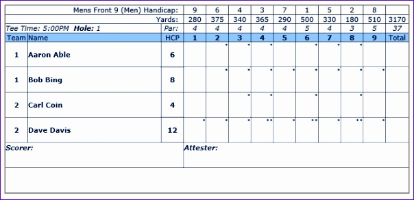 6 golf scorecard template excel exceltemplates for Tournament spreadsheet template