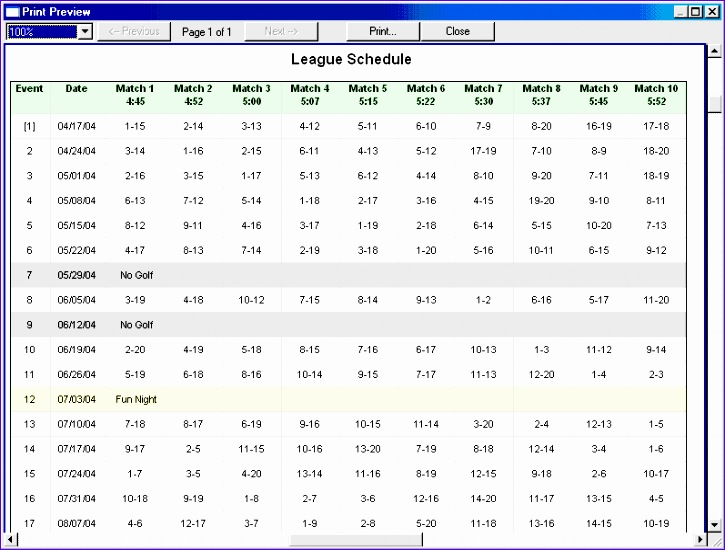 league schedule template 725550