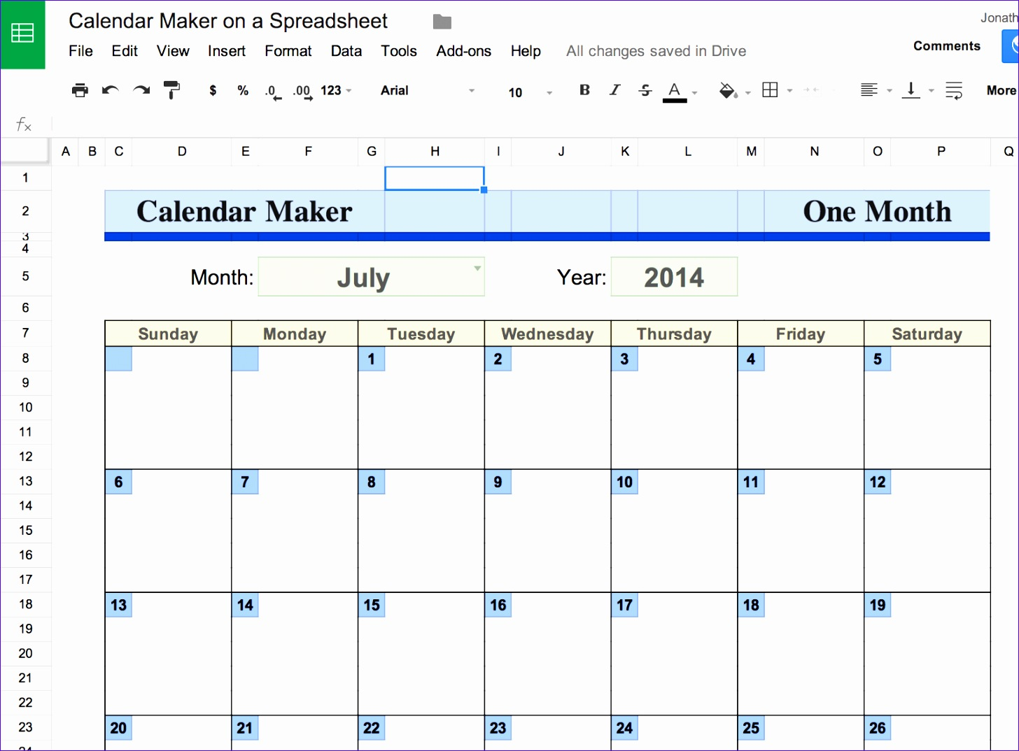 make calender with and on spreadsheet 14561074