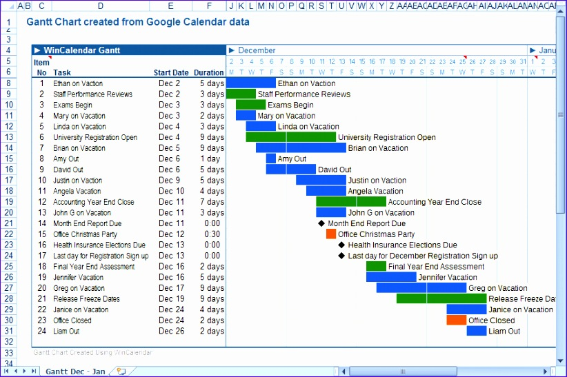 Google Calendar to Excel and Word 822547