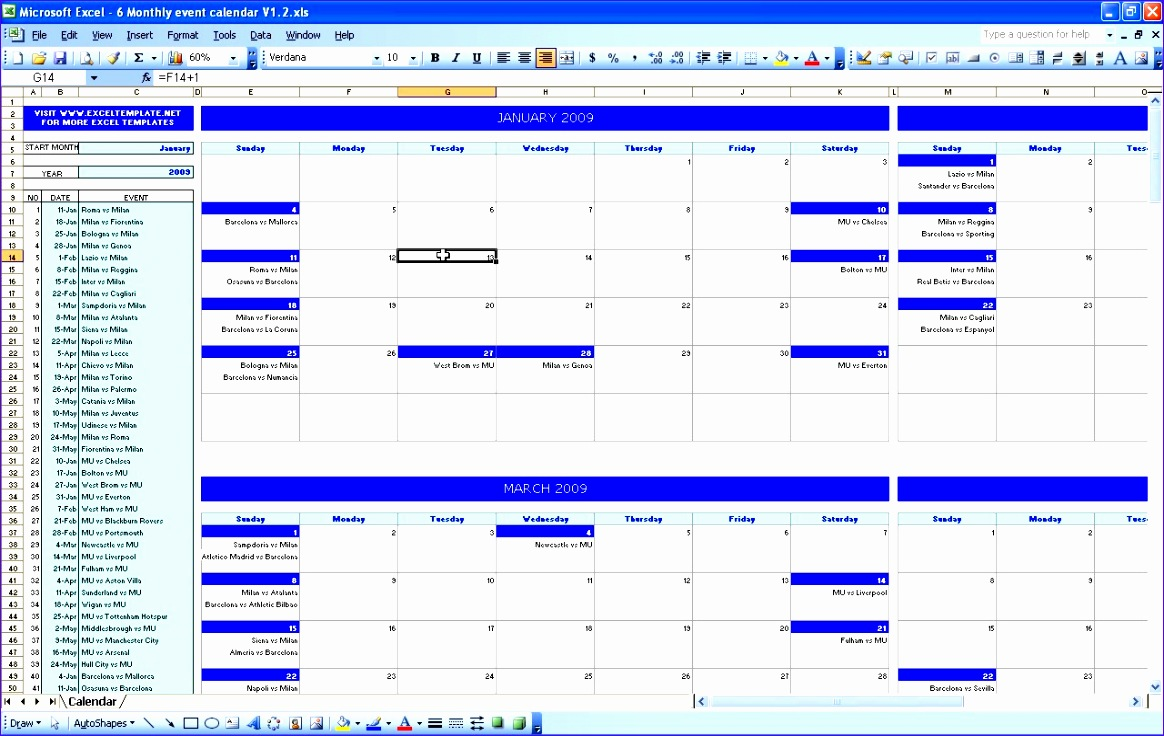 events calendar template excel