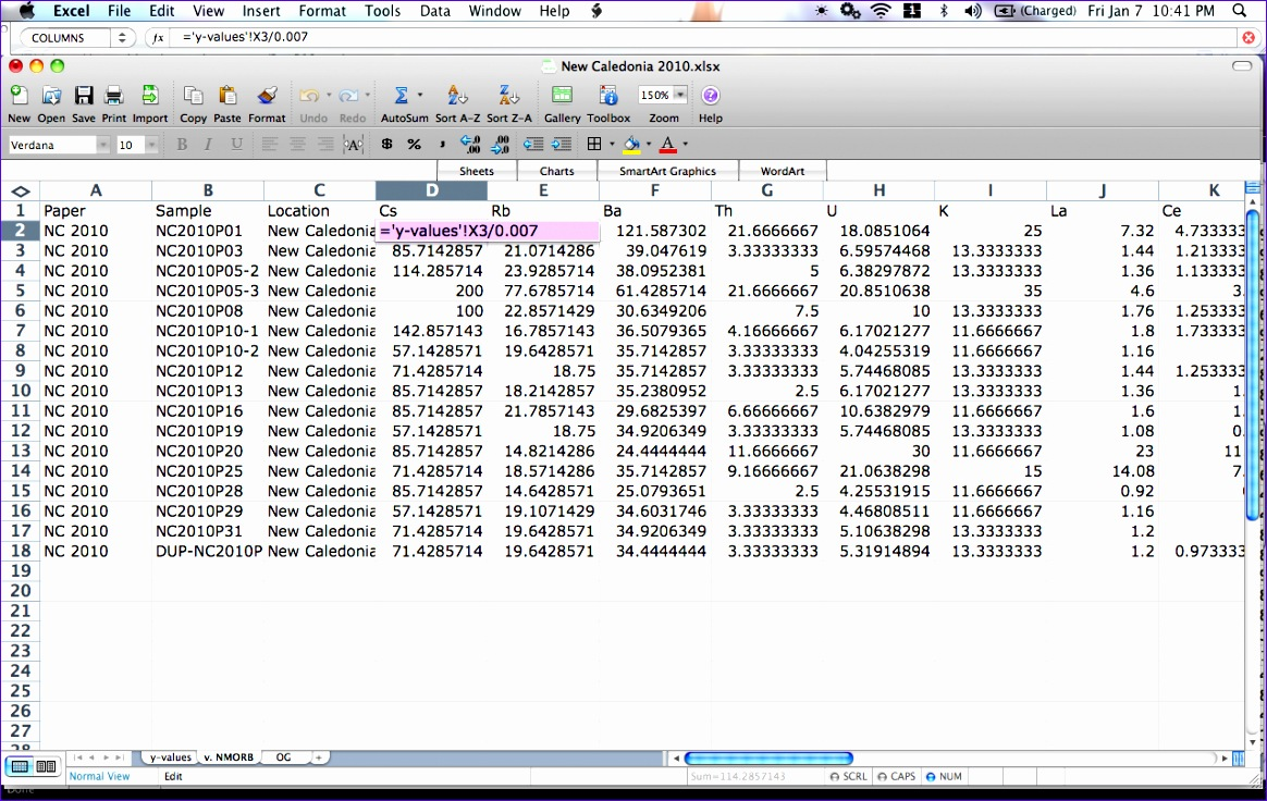 excel for geochemistry