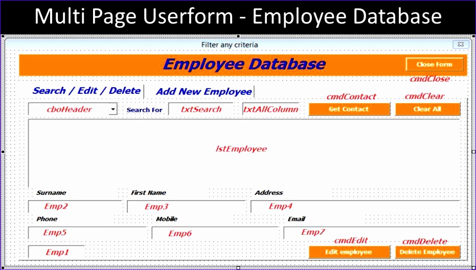 multi page userform employee database