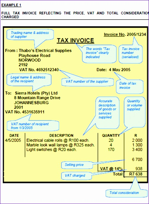 tax invoice template south africa 2527 502688