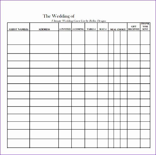 wedding guest list sample