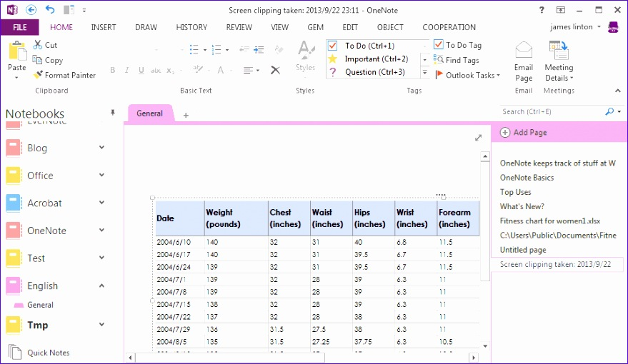bring to onenote for excel 879510