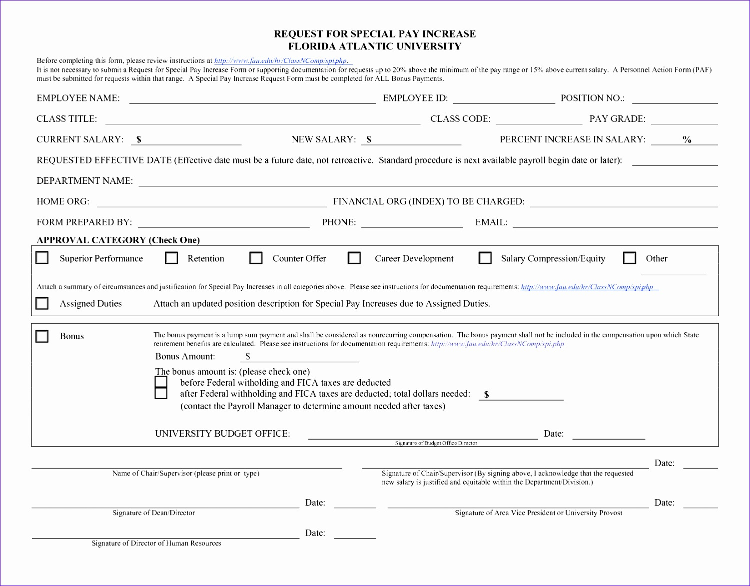 pay increase form