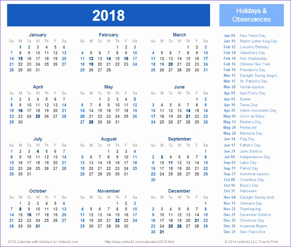 2018 calendar with holidays 34 939798