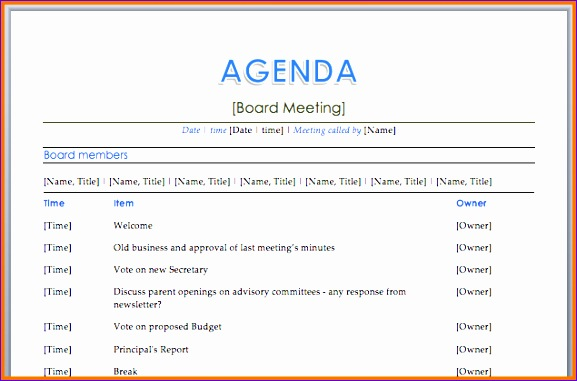meeting itinerary template 577381
