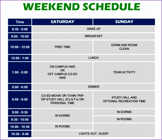 weekend schedule template