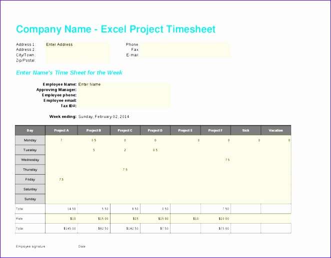 weekly project excel timesheet template 662517