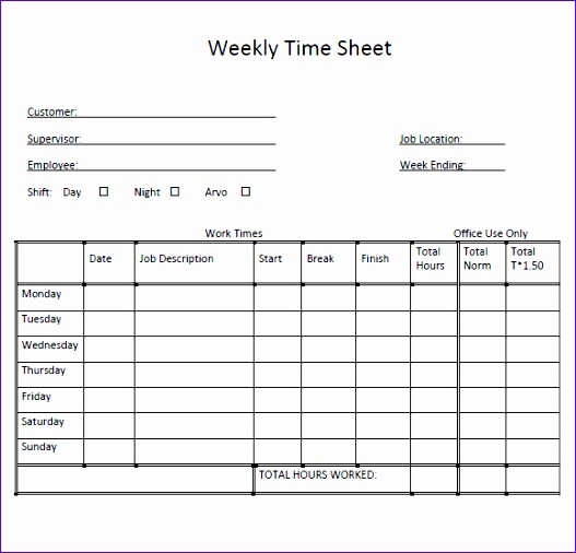 sample weekly timesheet 527506