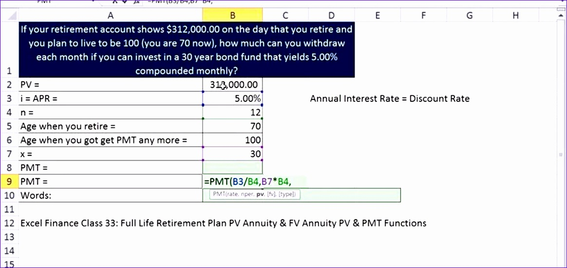 calculate monthly retirement in e microsoft excel
