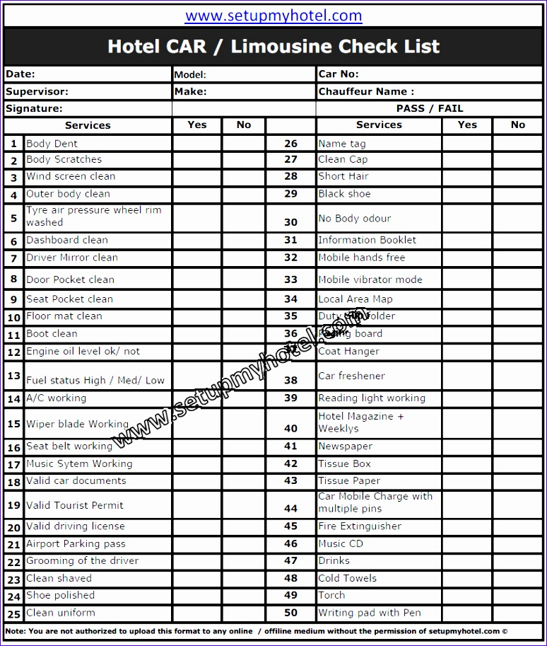 Inspection Checklist Template Excel U0hdy Luxury Concierge Hotel Car Limousine Checklist 851993