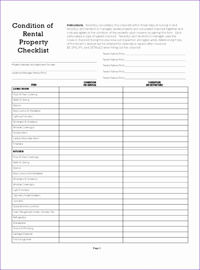 landlord inspection checklist template 698942