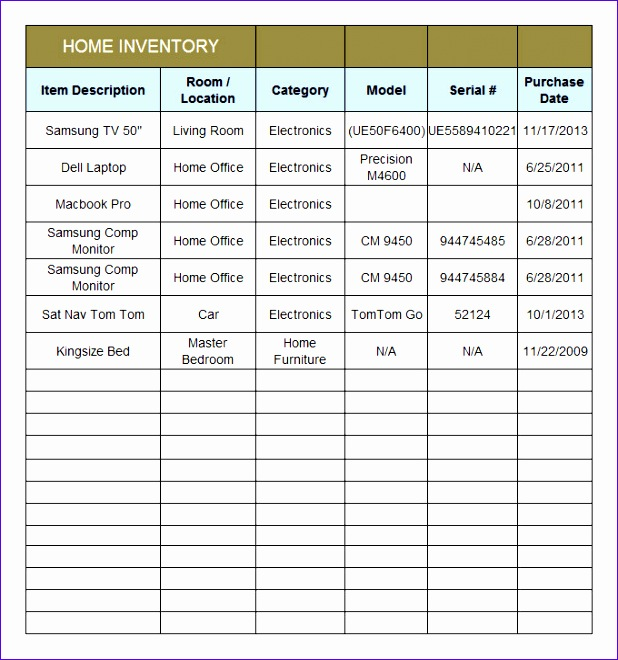 home inventory template 618660