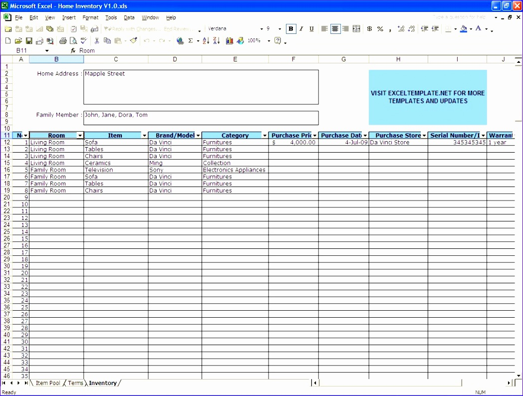 Excel Inventory Template Free Download
