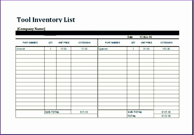 tool inventory sheet template 649451