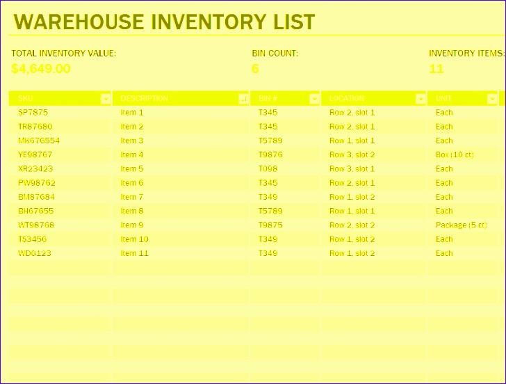 warehouse inventory excel spreadsheet sample 728552