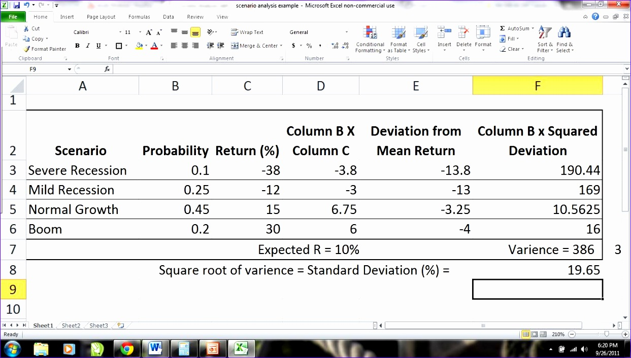 Investment Excel Template Jqern New Scenario Analysis Definition ...