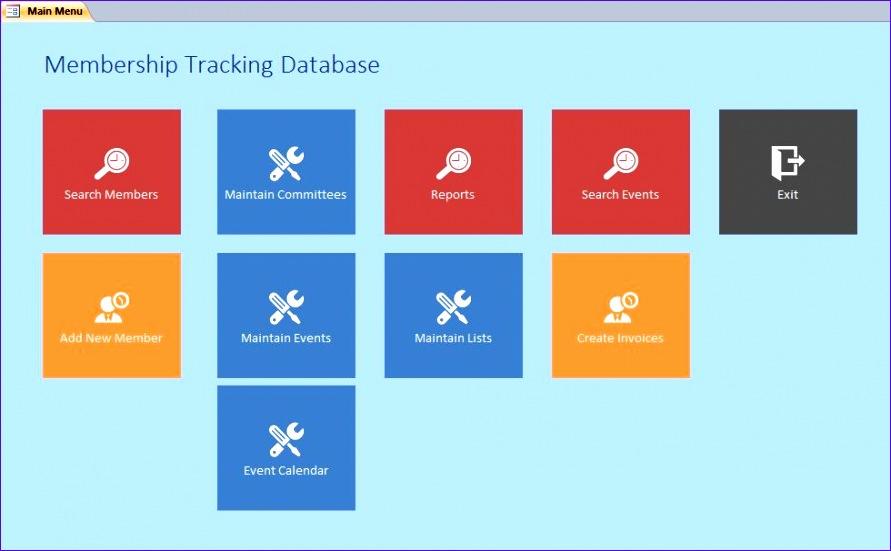 Microsoft Access Membership Tracking Calendar Database