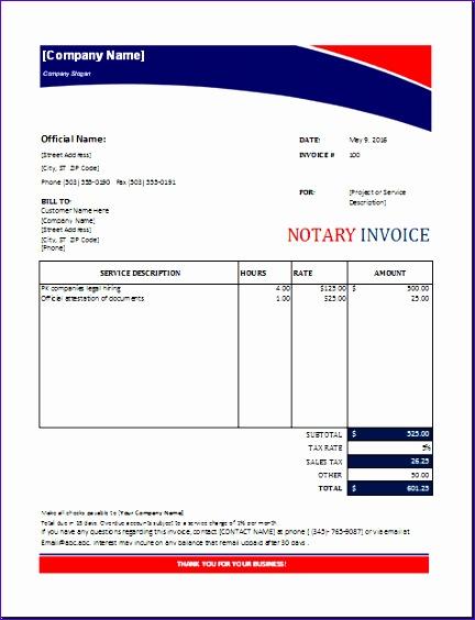 notary invoice 432564