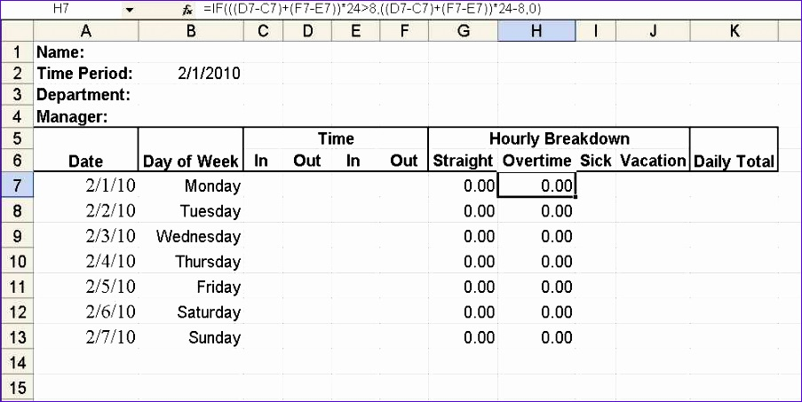 build a simple timesheet in excel 903453