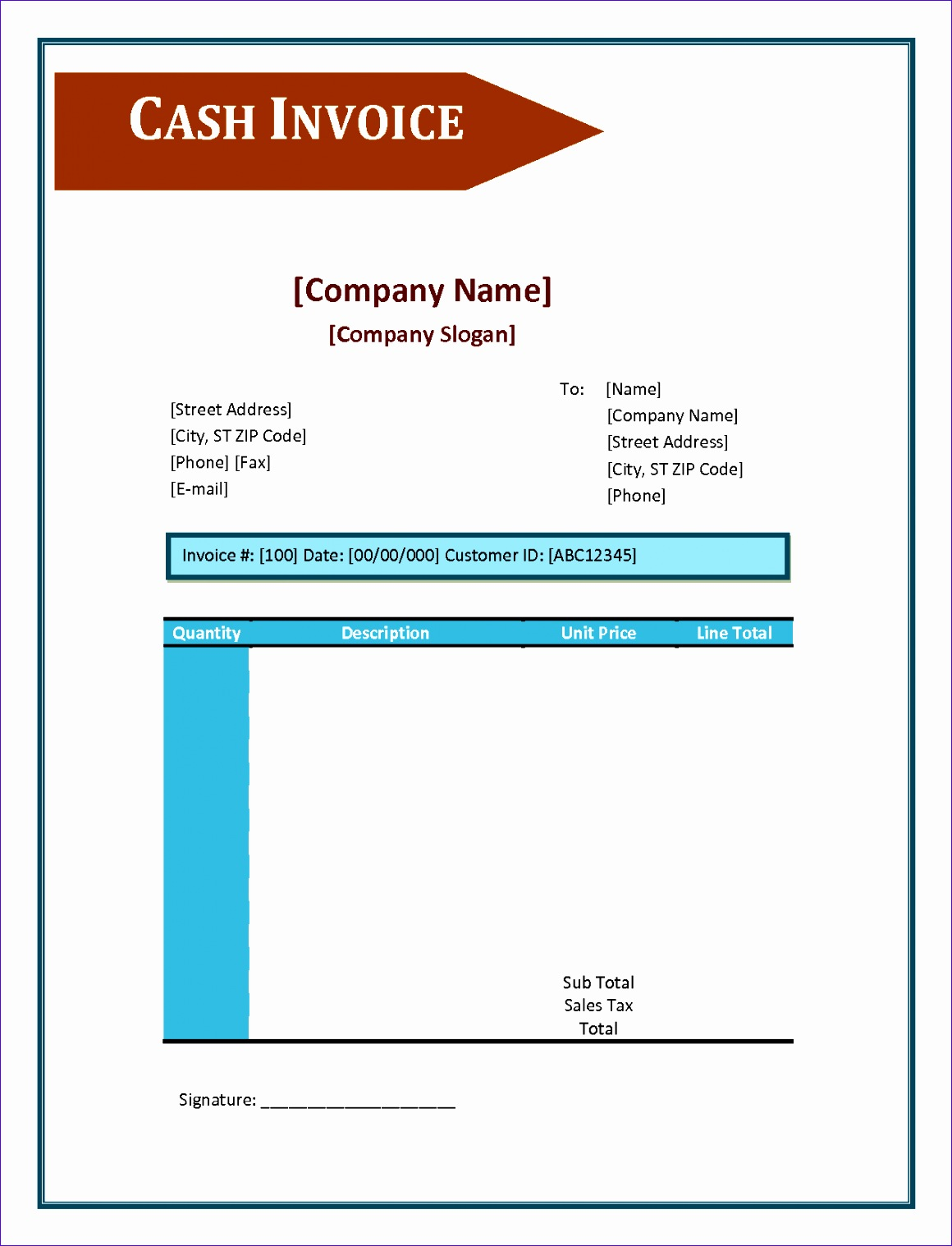 cash invoice template excel 1271 11601518