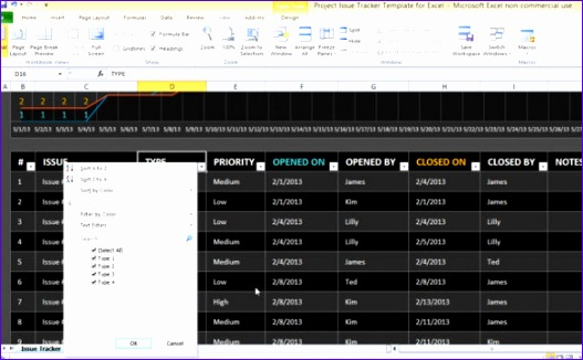 project issue tracker template for excel 527326
