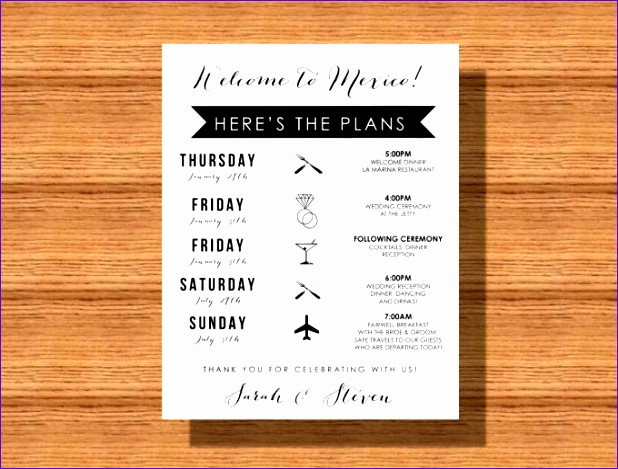 wedding itinerary template 618469