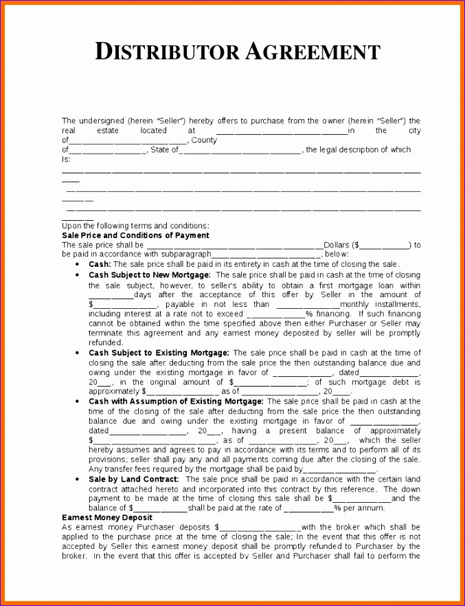 6 distribution agreement template 677881