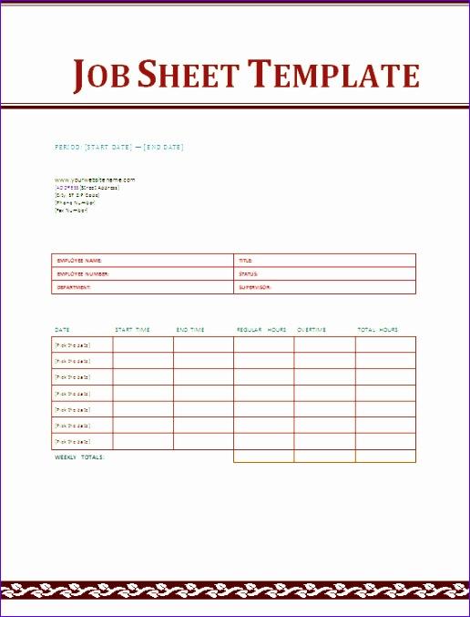 job sheet template excel 516677